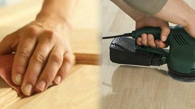 Cómo lijar madera pintada, barnizada, con taladro. con amoladora, de pino